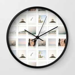 Instant film photo collage | Beach photography retro vintage look Wall Clock