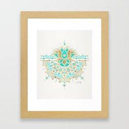 Sacred Lotus Mandala – Turquoise & Gold Palette Framed Art Print
