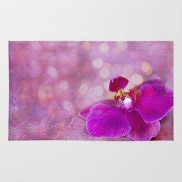 Pink Orchid Mixed Media Art Rug
