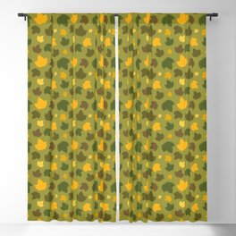 Autumn Hops Leaves on Green Blackout Curtain