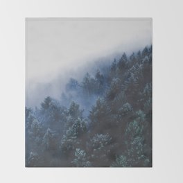 Foggy Blue Purple Mountain hill Pine Trees Landscape Nature Photography Minimalist Modern Art Throw Blanket