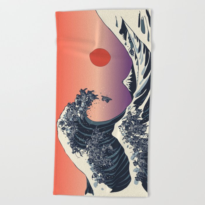 The Great Wave of Black Pug Beach Towel