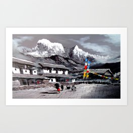 Panoramic View Of Everest Base Camp Art Print
