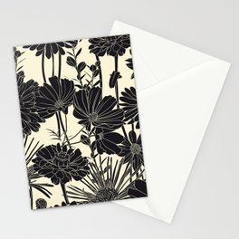 BLACK FLOWERS Stationery Cards