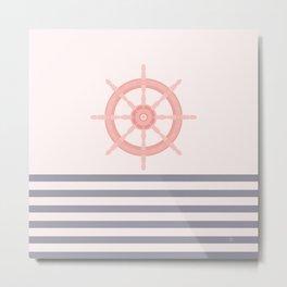 AFE Pink Nautical Helm Wheel  Metal Print