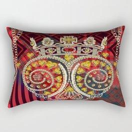 Skull with Motiff and Tartan Rectangular Pillow