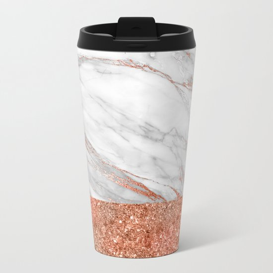 Luxury and glamorous pink glitter and white marble Metal Travel Mug