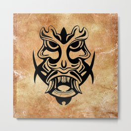 Vicious Tribal Mask Black grunge 002 Metal Print