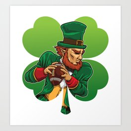 American Football Leprechaun - Lucky Irish Art Print