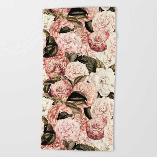 Vintage & Shabby floral camellia flowers watercolor pattern Beach Towel