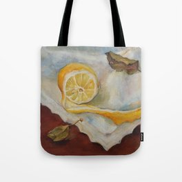 Still life with Lemon Oil painting on canvas Yellow Cirtus Fruit Home decor Tote Bag