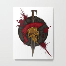 Heroic Spartan Emblem   Warrior Fighter Metal Print