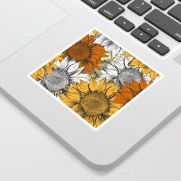 Beautiful pattern from hand drawn sunflowers Sticker