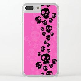 Skulls Fun - black/pink Clear iPhone Case