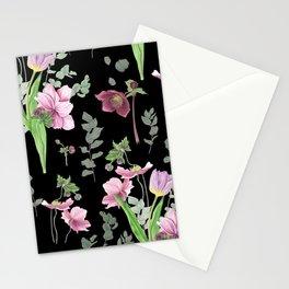 Spring flowers on black background Stationery Cards