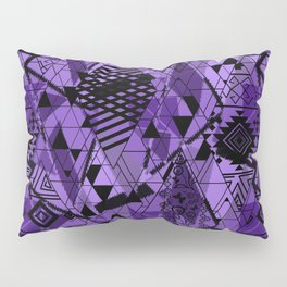 Abstract ethnic pattern in black, purple colors. Pillow Sham