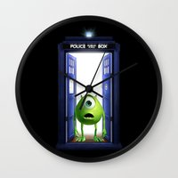 monster inc Wall Clocks featuring Tardis Monster inc by DavinciArt