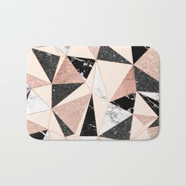 Modern black white marble rose gold glitter foil geometric abstract triangles pattern Bath Mat