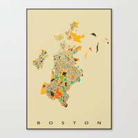 boston map Canvas Prints featuring Boston map by Nicksman