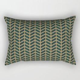 Green Velvet Golden Rectangular Pillow