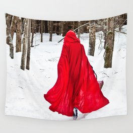 Little Red Riding Hood Runs Through The Woods In Winter Wall Tapestry