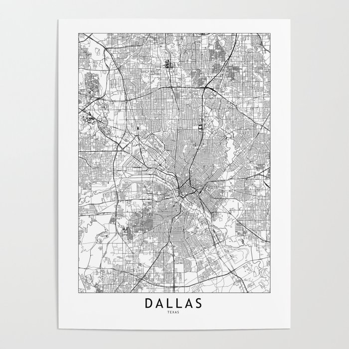 Dallas White Map Poster