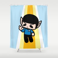 spock Shower Curtains featuring Spock by Ziqi
