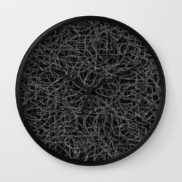 Black and white scribbled lines pattern Wall Clock