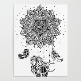 Native American Indian talisman dreamcatcher with feathers Poster