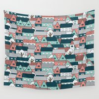 sticker Wall Tapestries featuring A lot of Houses by General Design Studio