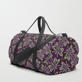Field of Lilac Butterflies , Purple Wings Patterns in Geometric Formation with Flowers Duffle Bag
