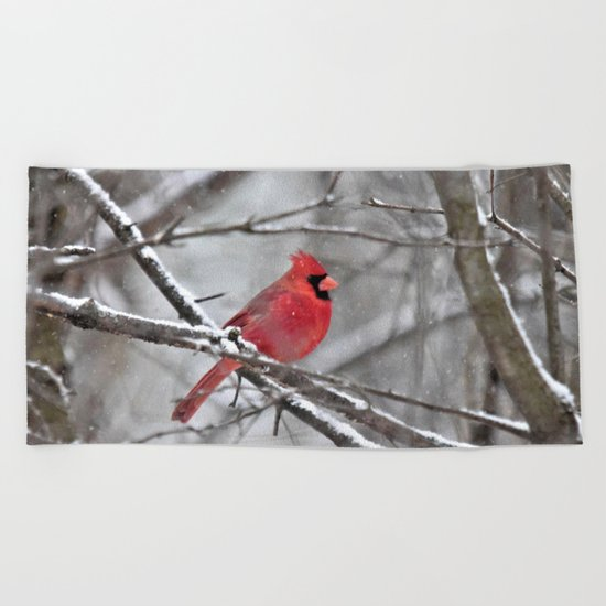 Quiet Time in the Snowy Woods Beach Towel
