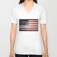 american flag V-neck T-shirts featuring American flag by Nicklas Gustafsson