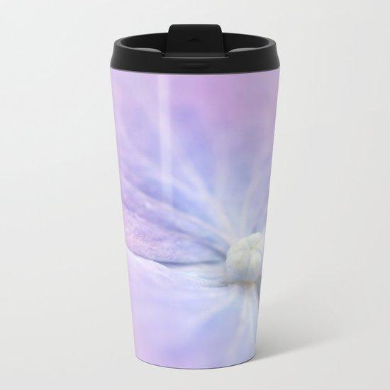 Blue and Purple Hydrangea Blossom Metal Travel Mug