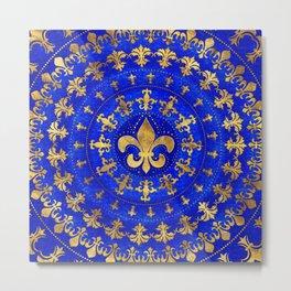 Fleur-de-lis ornament Lapis Lazuli and Gold Metal Print