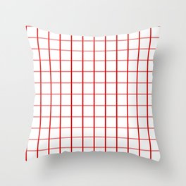 Big Red on White Gingham Squares Throw Pillow