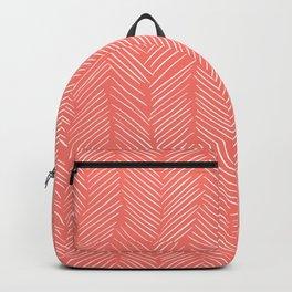 Living Coral Herringbone Happiness Backpack