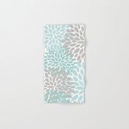 Floral Pattern, Teal, Aqua, Turquoise,Gray Hand & Bath Towel