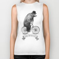 bicycles Biker Tanks featuring Bears on Bicycles (Lime) by Eric Fan