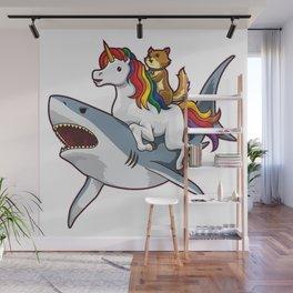 Shark Unicorn Cat - Awesome Friendship Wall Mural