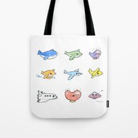 airplanes Tote Bags featuring Cute Airplanes by Macy Wong