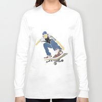 skateboard Long Sleeve T-shirts featuring Skateboard 1 by Aquamarine Studio