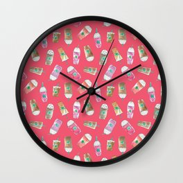 Coffee Crazy Toss in Coral Wall Clock