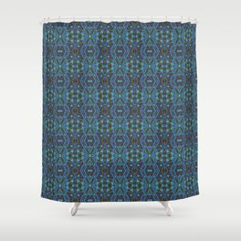 Ethnic ornament , blue , olive Shower Curtain