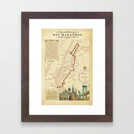 New York City Vintage {Marathon Course Map} 26.2 Framed Art Print