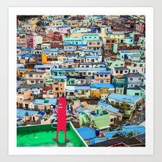 NUM NUM on Colourful house  Art Print