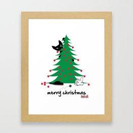Bad Cat Christmas wish Framed Art Print