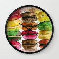 macarons Wall Clocks featuring macarons by Olga Gridneva
