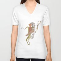 hunting V-neck T-shirts featuring Hunting Party by BohemianBound