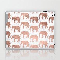 Modern faux rose gold elephants white marble Laptop & iPad Skin